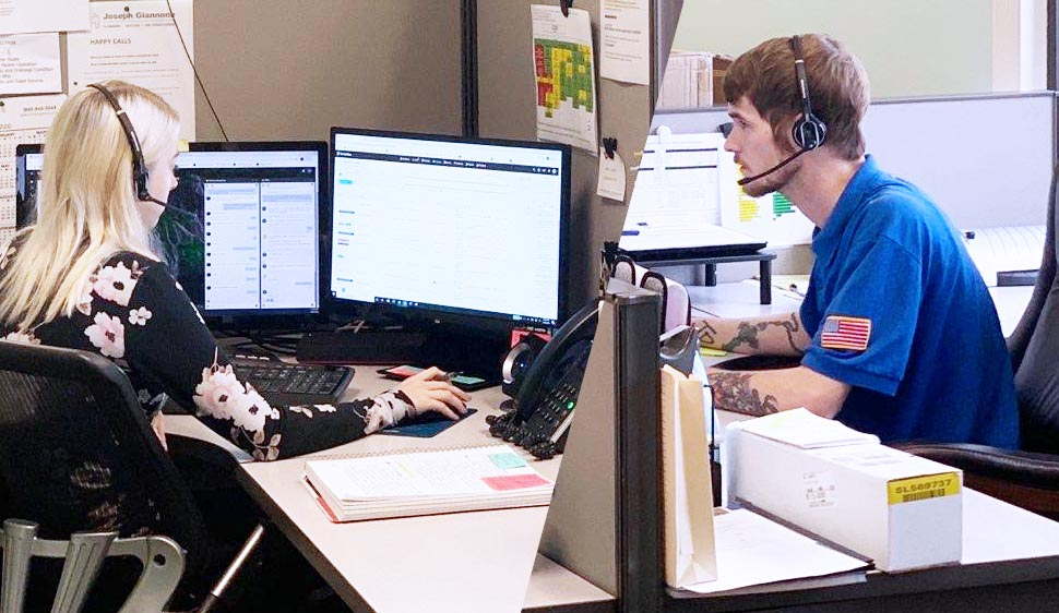 Compiled photo split with two customer service representatives sitting at desks with headsets on shown from the desk up