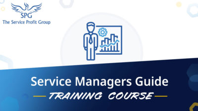 Graphic card for The Service Profit Group's Service Managers Guid Leadership Training Course, showing icon of a compass and a person holding a flag